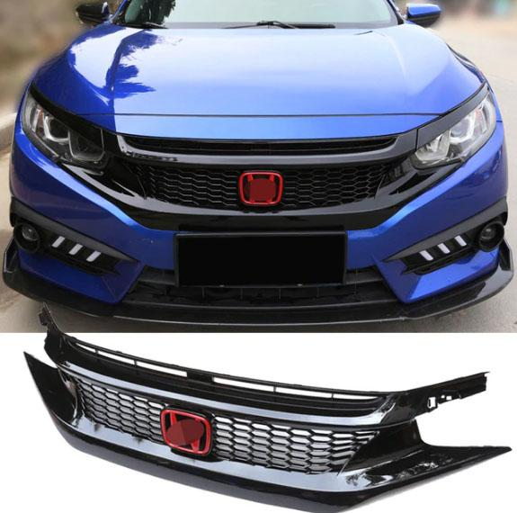 Honda Civic 2016-2018 Type R Style Front Bumper Grille Grill with Red H  Emblem