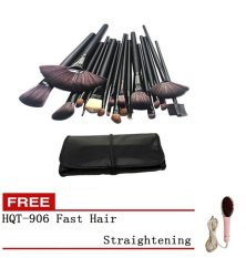 24pcs Professional Synthetic Hair Cosmetic Makeup Brush Set Kit Brushes Tools Make up with Case (Black) with Free HQT-906 Fast Hair Straightening Philippines