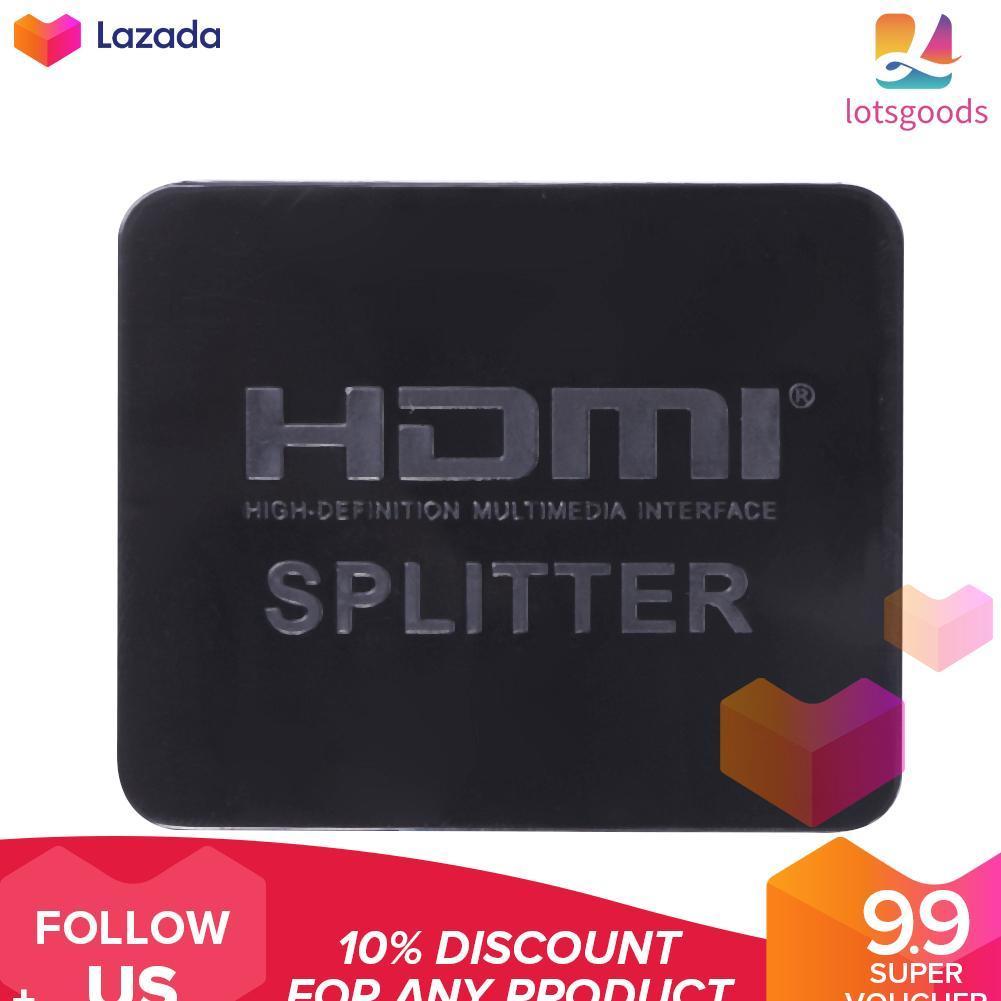 Ultra HD 4K HDMI Splitter 1X2 2 Port Repeater Amplifier 3D 1080p 1 in 2 Out  (Black) - intl(Black)(Black)