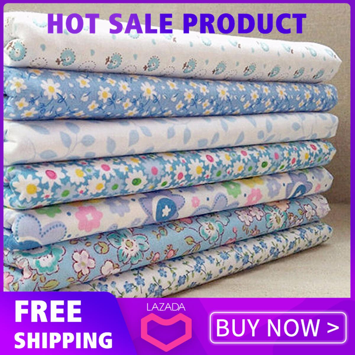 7pcs Blue Assorted Cut Charm 10'' Squares Thin Quilt Cotton Fabric Diy Making By Qiaosha.