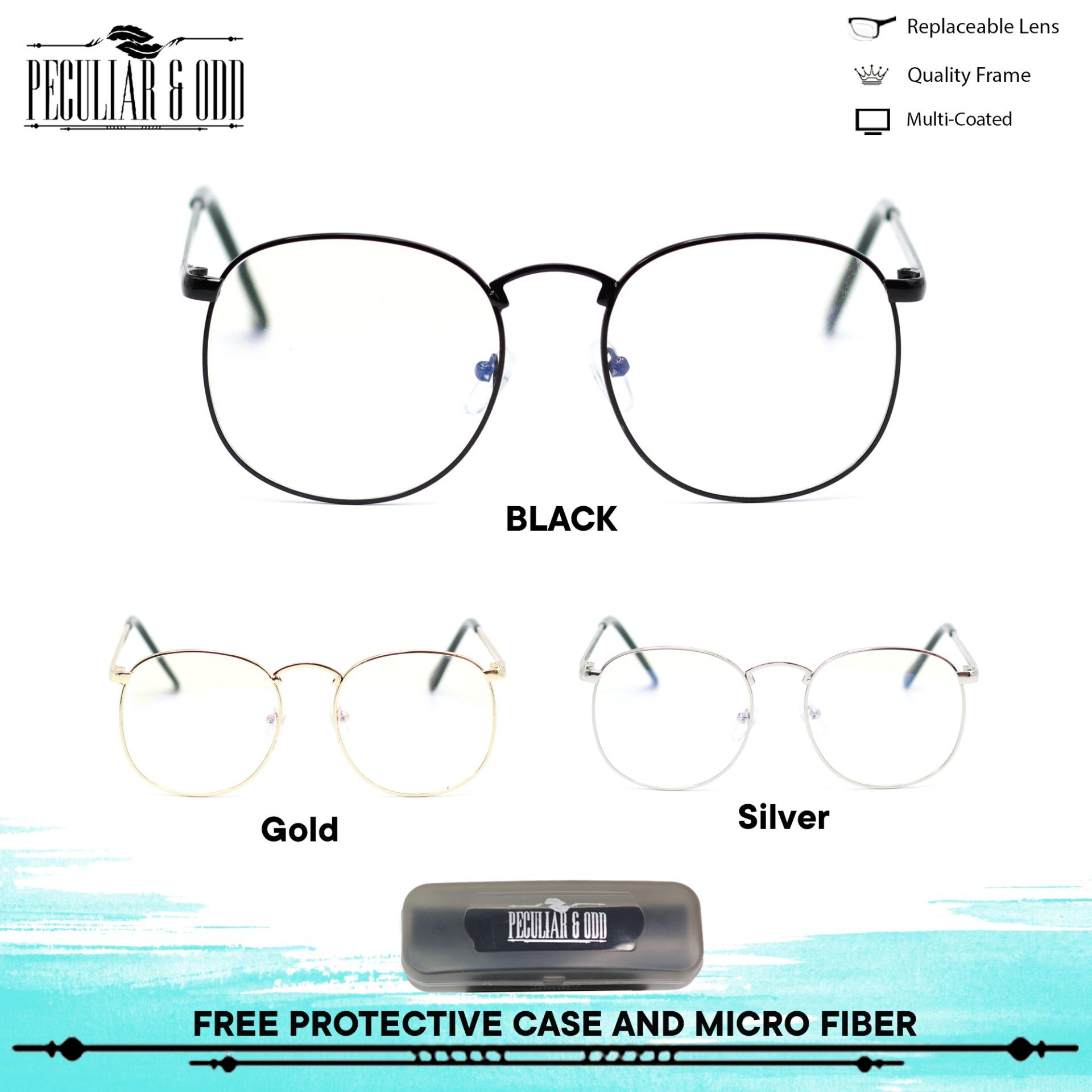 4b77a3e098 Peculiar Round Eyeglasses 8810 Antiradiation Lenses in Thin Metal Frame  Lightweight Replaceable Optical Lens Unisex Eyewear