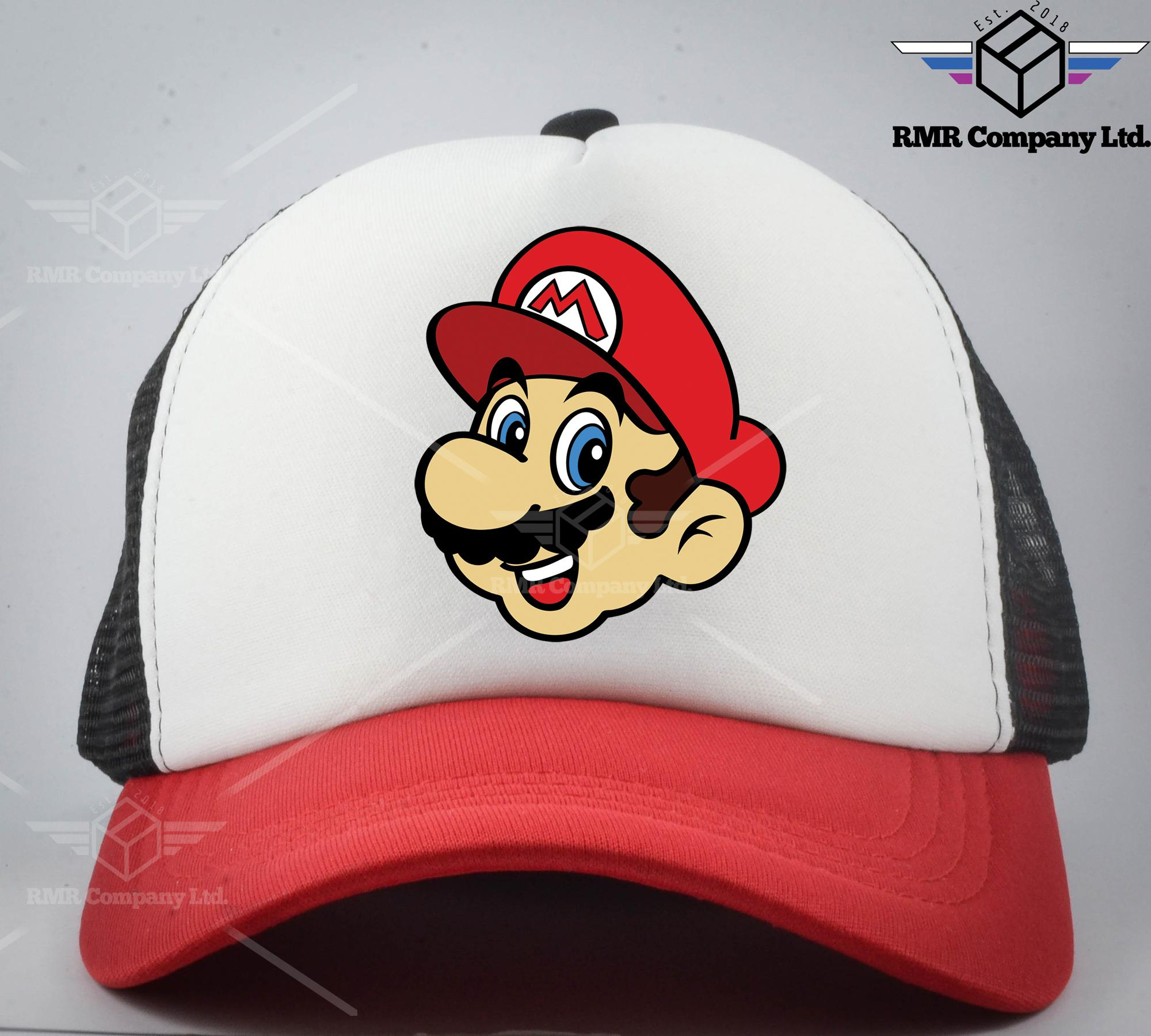 MARIO HEAD TRUCKER NET MESH CAP CUSTOM MARIO HEAD FAN CAP UNISEX