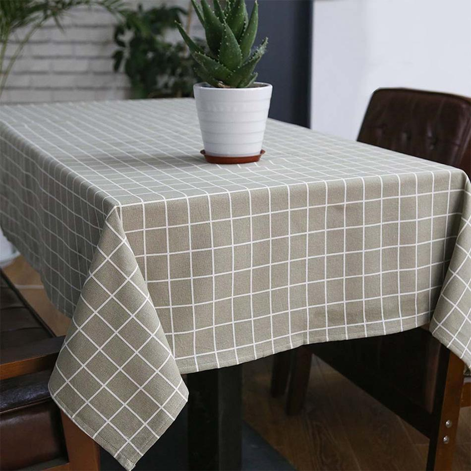e101e7be8 Cotton Linen Table Cloth Country Style Plaid Print Multifunctional  Rectangle Table Cloth Cover Home Kitchen Decoration