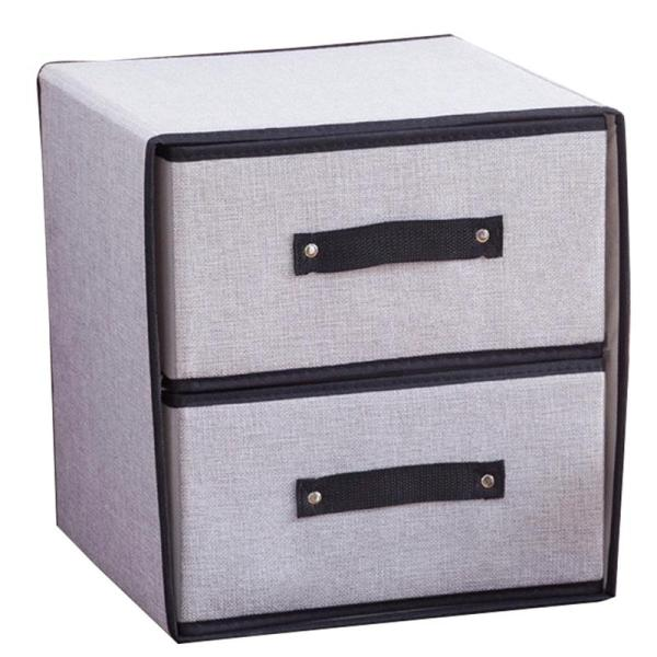 Foldable Storage Box for Clothes Washable Underwear Storage Box Polyester Fabric Drawer Organizer Storage Containers Light Gray