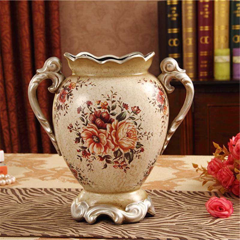 Ceramic Vase Decoration Living Room Flower Arrangement Hand Crafts Vintage European Style Modern Minimalist