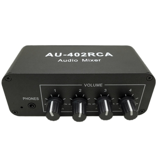 Multi-Source RCA Mixer Stereo Audio Reverberator Audio Switch Switcher 4 Input 2 Output Driver Headphone Volume Control thumbnail