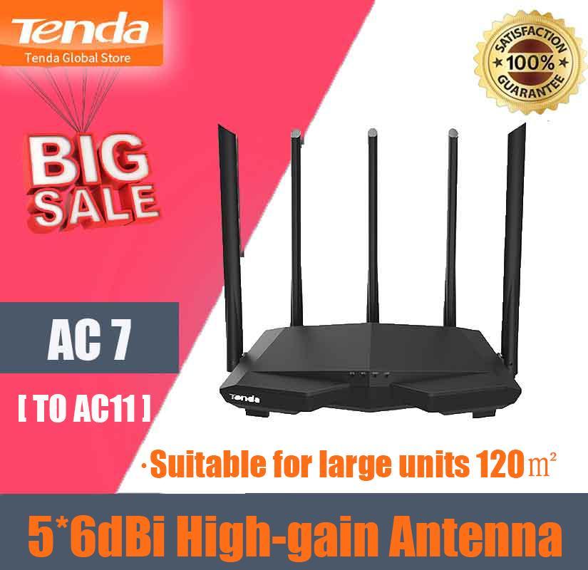 Tenda AC7 Wifi Routers 2.4Ghz//5.0Ghz Wi-fi Repeater 1*WAN+3*LAN 5*6dBi Antenna