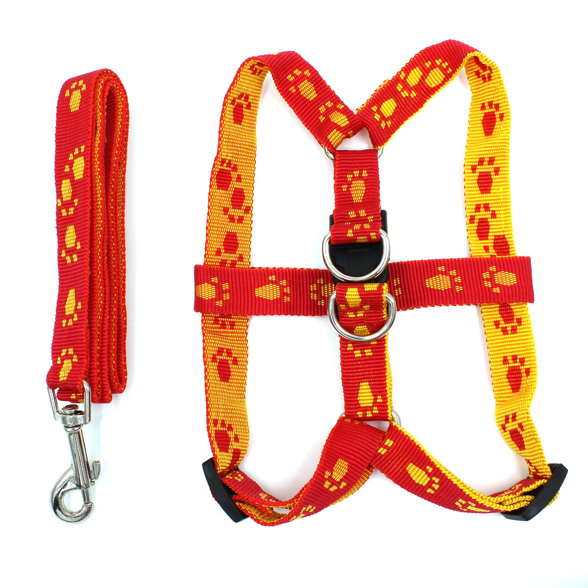 Digisoria Paws Pattern Dog Leash Harness (red/yellow) By Digisoria
