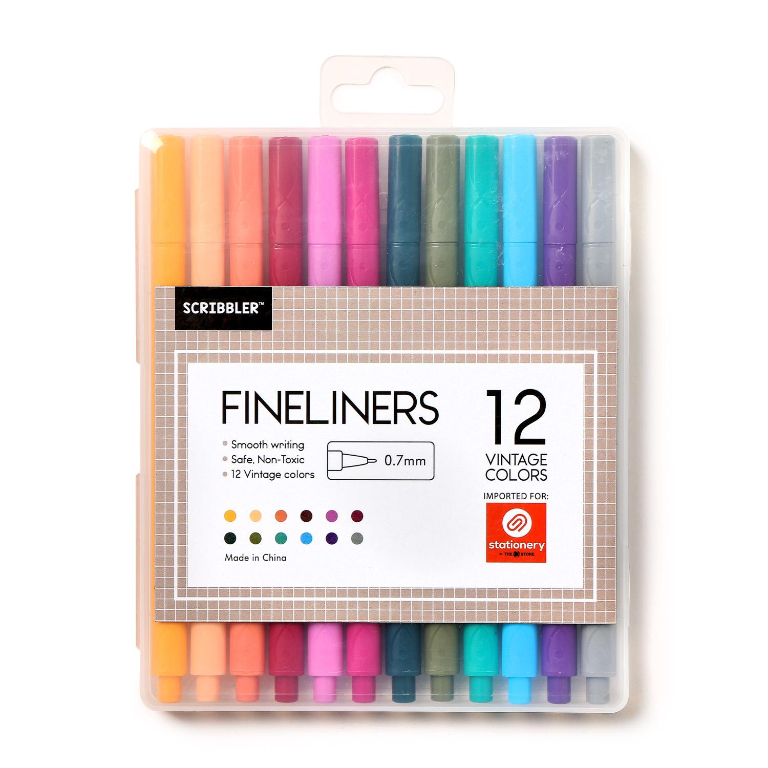 Scribbler .7mm Fineliners Of 12 Vintage Colors By The Sm Store.