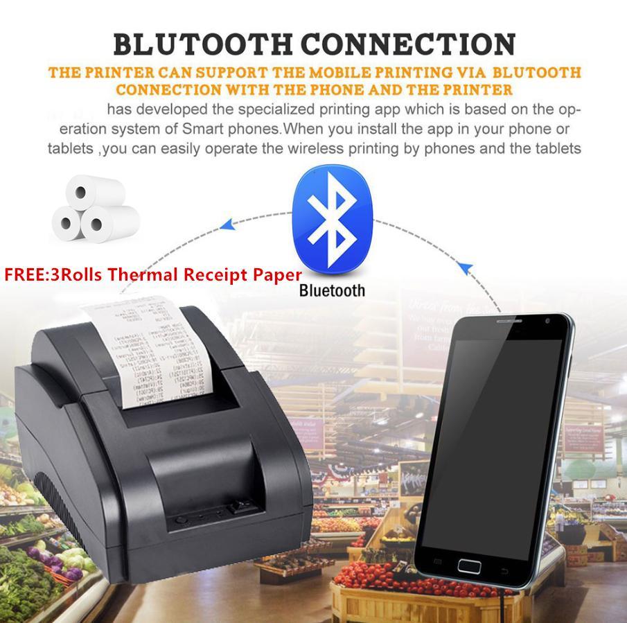 Xprinter XP-58IIH (BLUETOOTH VERSION+USB) Thermal Cash Receipt POS Mini  Printer FREE 3Rolls Thermal Receipt Paper