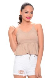 NEXT 91-925 Baby Doll Crop Top (Brown)
