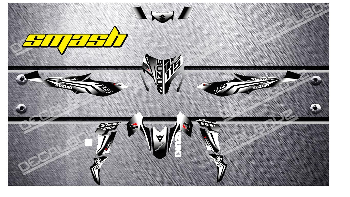 Suzuki Smash 115 White Sticker Design