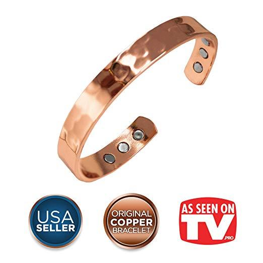 Earth Therapy, The Original Pure Copper Magnetic Healing Bracelet For Arthritis, Migraine, And Joint Pain Relief – Hammered Style – Adjustable - For Women By Galleon.ph.