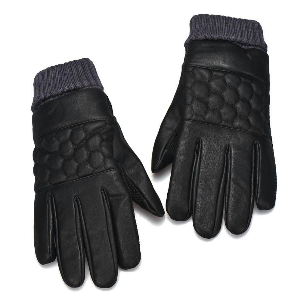 BPFAIR Anti Slip Men Thermal Winter Sports Leather Touch Screen Gloves Free shipping