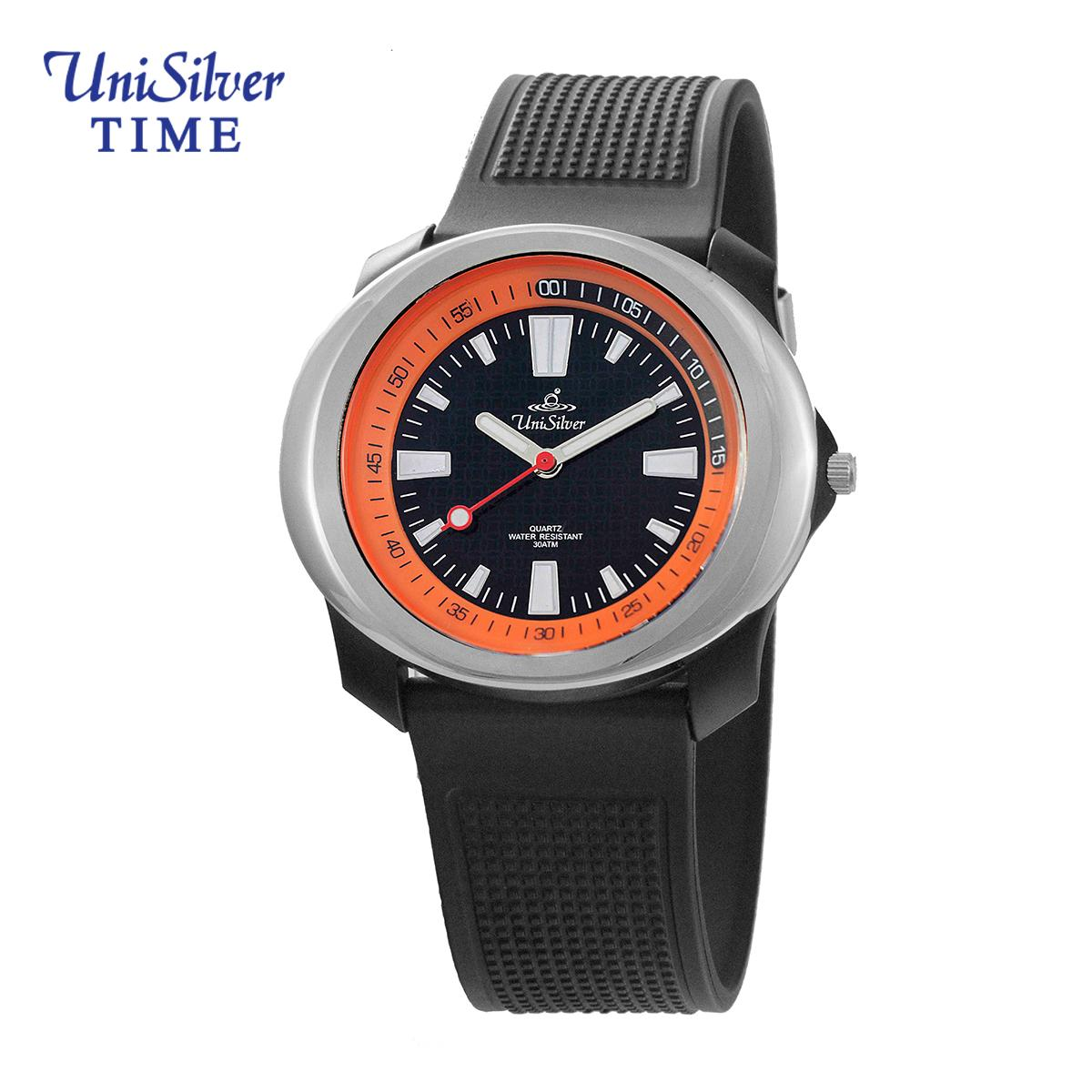 UniSilver TIME Prime Trooper Men's Black / Silver / Orange Analog Rubber Watch KW1003-1000