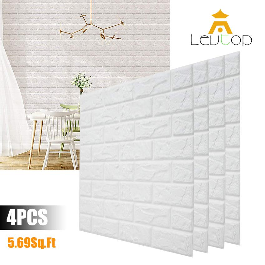 aba17c0764 LEVTOP 4 PCS/Set 3D Wall Stickers 70X77 CM PE Foam Home Decor Wallpaper  Safety