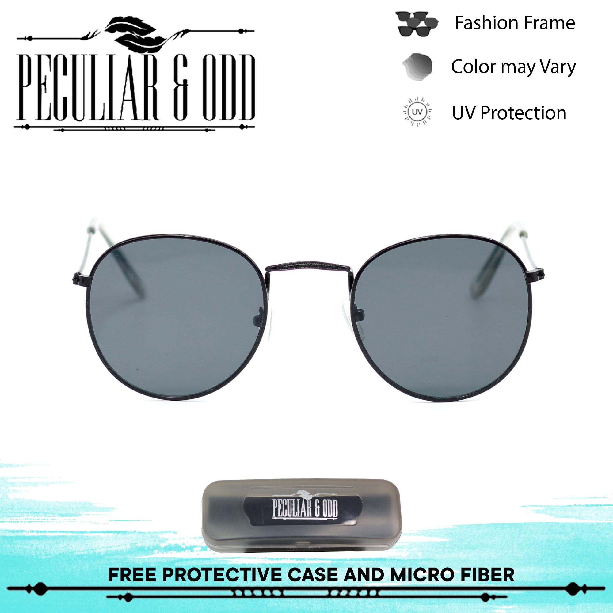 0425248385 Peculiar Round 3447 Black in Black Frame and Black Flash Lens Sunglasses in  Lightweight Metallic Frame Unisex