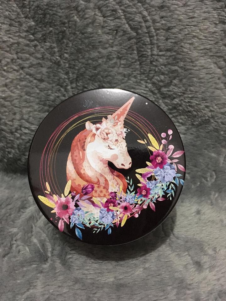Unicorn Round Tin Can - Coin holder/ earphone holder