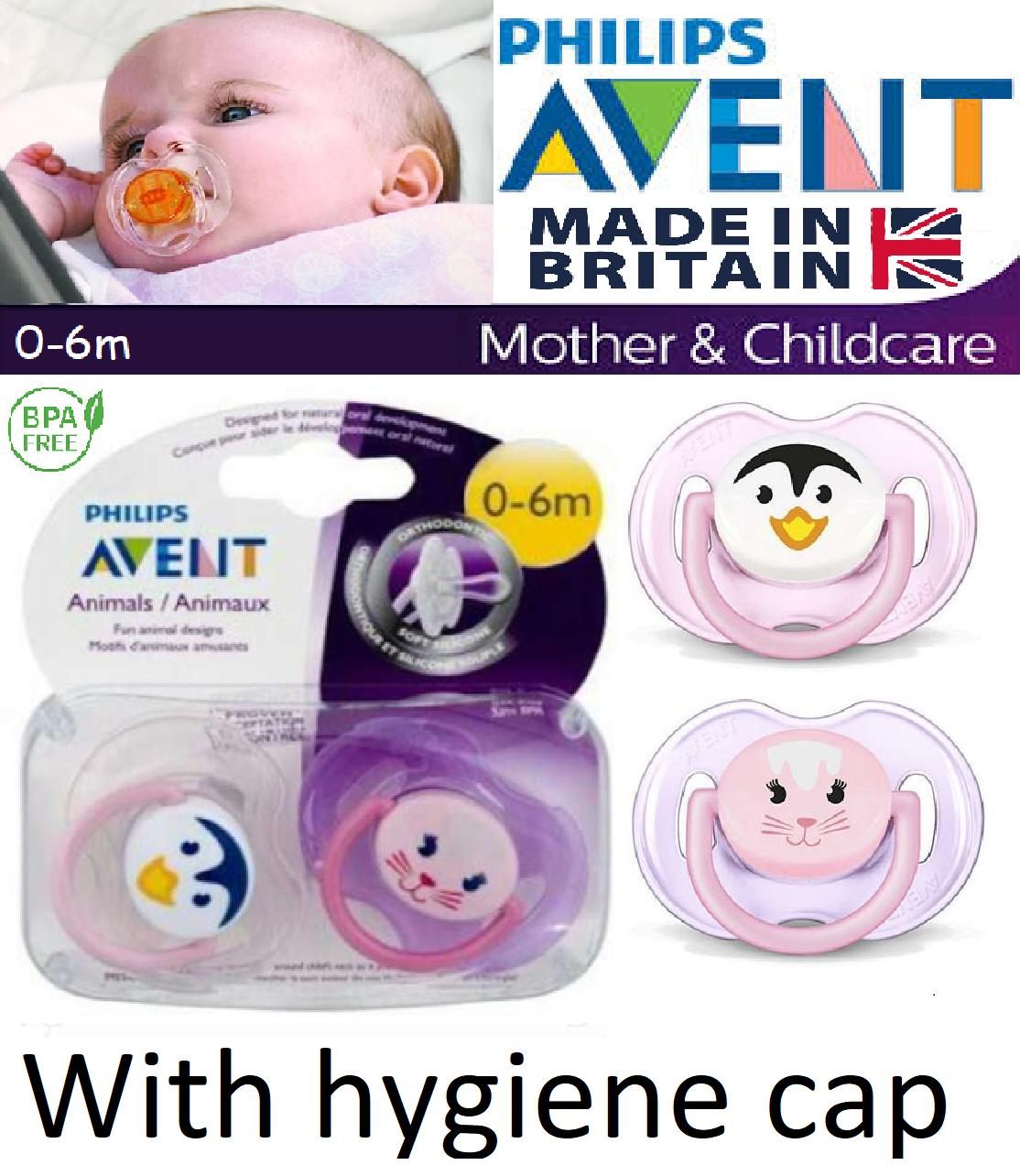 Philips Avent  Animal  Silicone Soother  Boys//Girls  0-6m  2 in Pack   Bpa Free