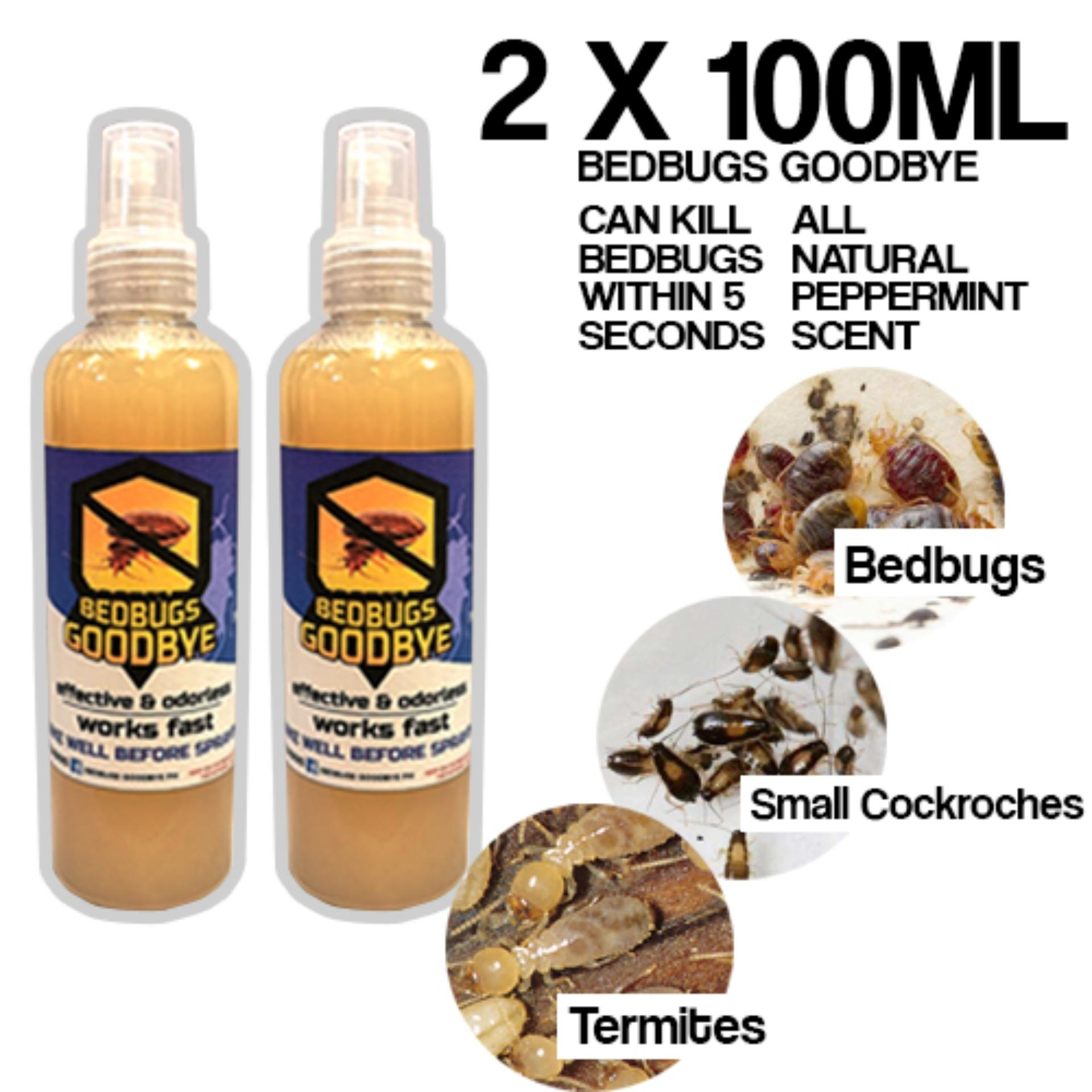 Bedbugs Goodbye Spray Natural Bed bugs termites small cockroaches Killer  effective newly improved peppermint scent 100ml SET OF 2