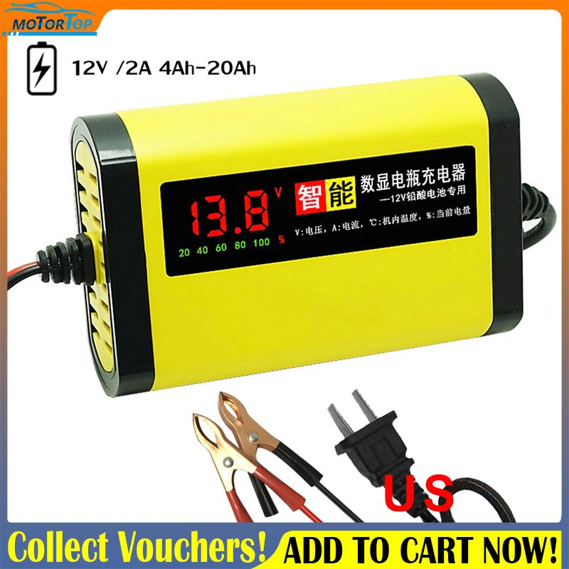 Smart Car Motorcycle Battery Charger 12V 2A Full Automatic 3 Stages Lead  Acid AGM GEL Intelligent LCD Display (US Plug)