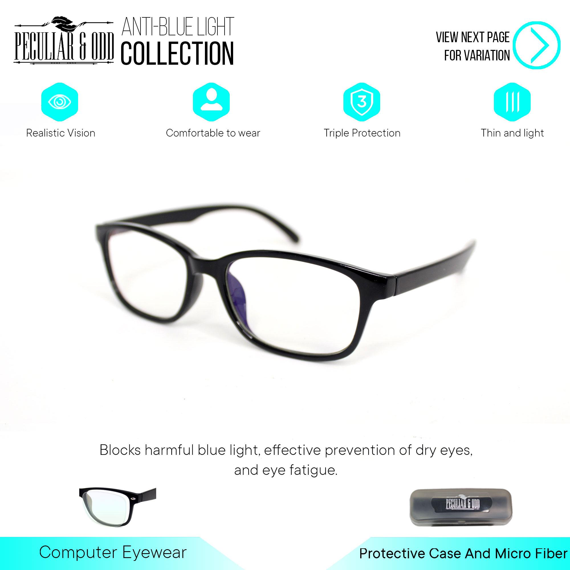 Peculiar Square 3028_coalblackclear Anti Radiation Computer Eyeglass Optical Replaceable Eyewear Unisex_new By Salimars Trading.