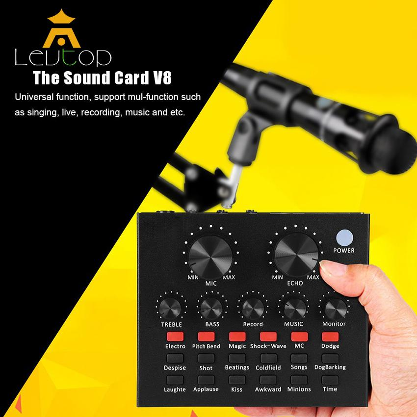 LEVTOP Audio Mixer Audio Interfaces Karaoke Sound Card Digital Effects Net  Red Live Streaming Audio Interface with 12 Electric Sounds 12 Sound Effects