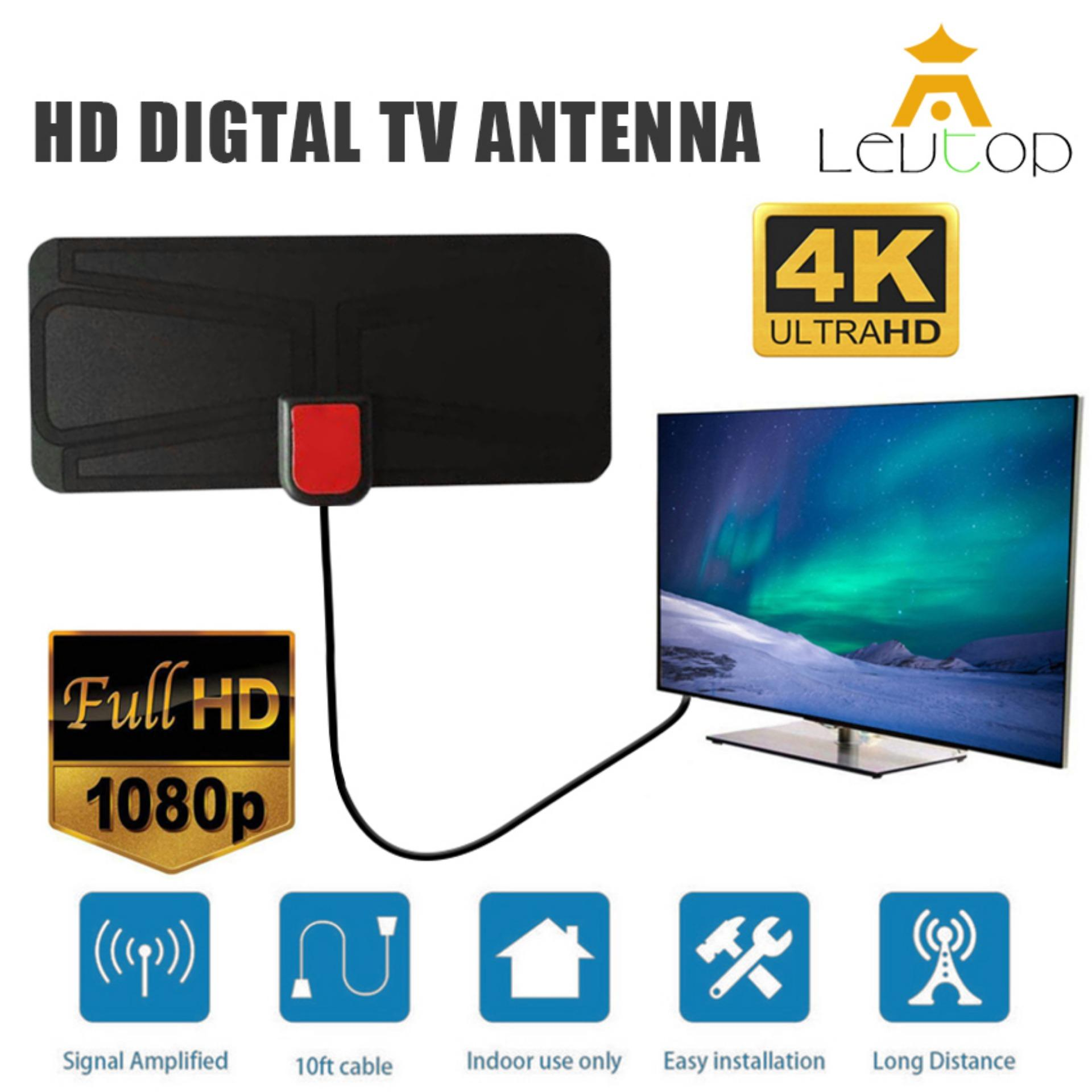 Levtop Indoor Digital Tv Antenna Amplified Hdtv Antenna 50 Miles Range High Gain Full Hd 4k 1080p Detachable Amplified Signal Booster With (3+1)m Cable By Levtop.