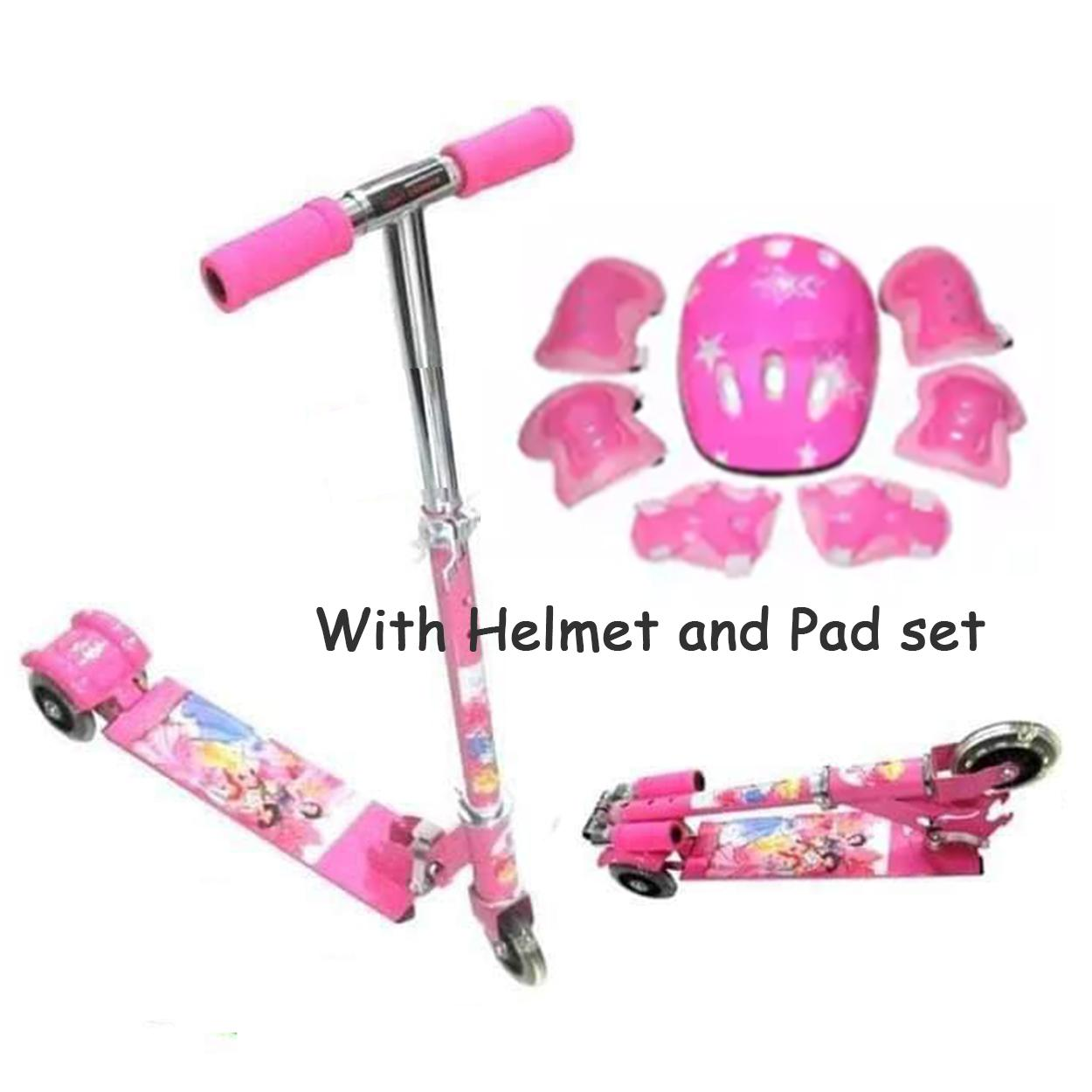 Pink - Adjustable Smart Scooter 3 Wheel Foldable Long Kick Scooter Skateboard By Elena Accessories.