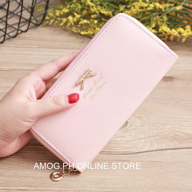 ffda3a931b54 AMOG Forever Friend Ribbon Long Wallet With Zipper Card Holder Korean Style  Zipper Wallet