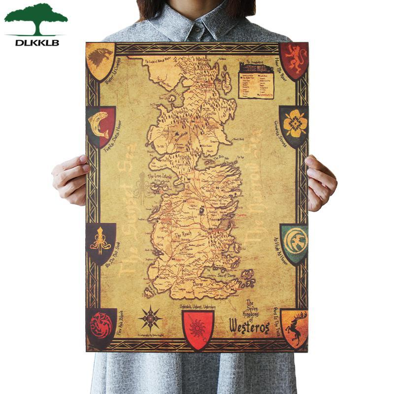 5 Pccs/set Dlkklb Game Of Thrones Westeros Peta Retro Kraft Kertas Poster Interior Bar Cafe Dinding Lukisan Dekoratif Stiker 42x36 Cm By Candy Sue Store.