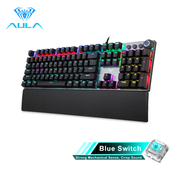 【Ready Stock】High Quality Original AULA F2058/F2088 Mechanical Gaming Keyboard Detachable wrist rest Multimedia Knob Marco Programming metal panel LED Backlit keyboard for PC Gamer (Punk keycap) Singapore