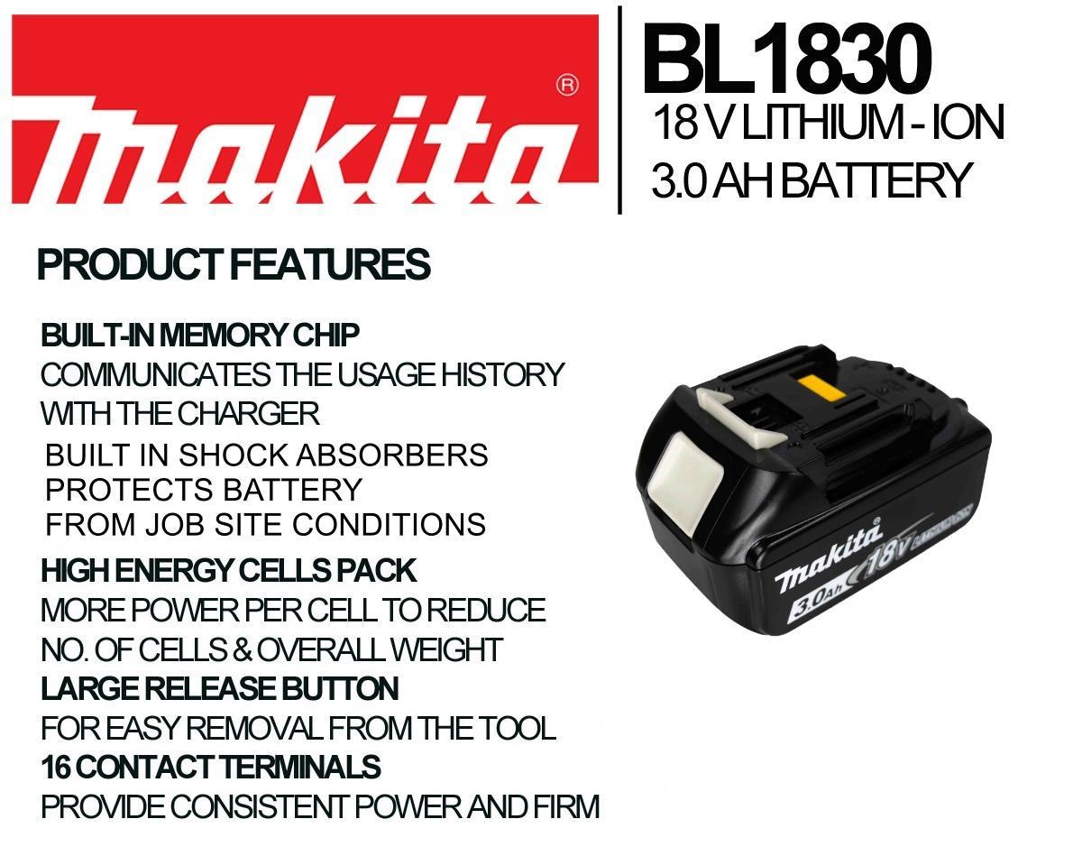 DTW251Z Makita BL1830 Authentique 18 V 3.0Ah Batterie Twin Pack pour Makita DTW190Z