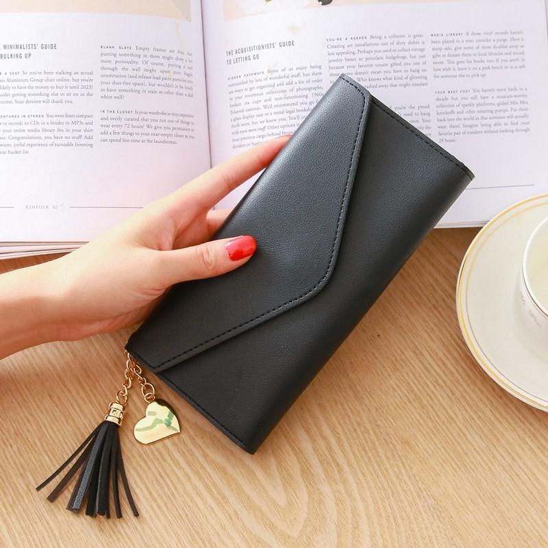 AMOG Korean Fashion PU Leather Heart Pendant Tassel Long Wallet Multi-functional Phone Case Card