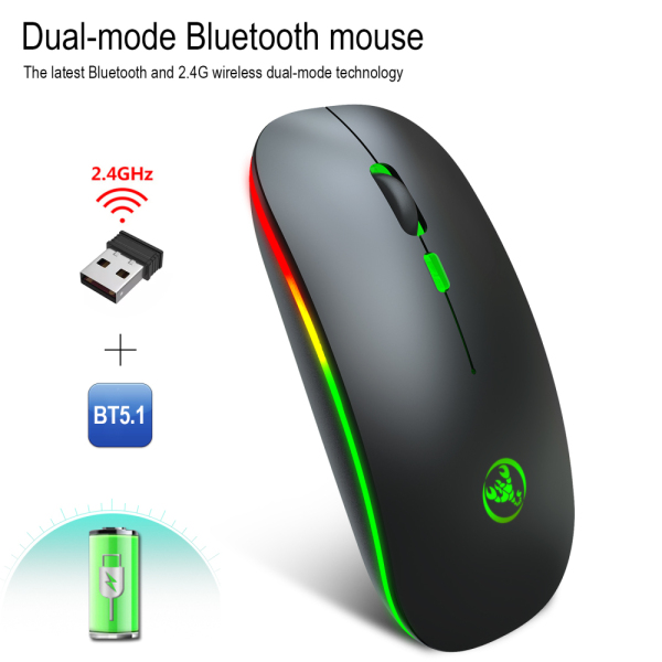 Versea T18 Bluetooth mouse 5.1 Dual Mode Rechargeable Wireless Mouse Silent 2.4G Mouse gaming mouse gamer with led backlight for pc computer【NEW】 -Intl