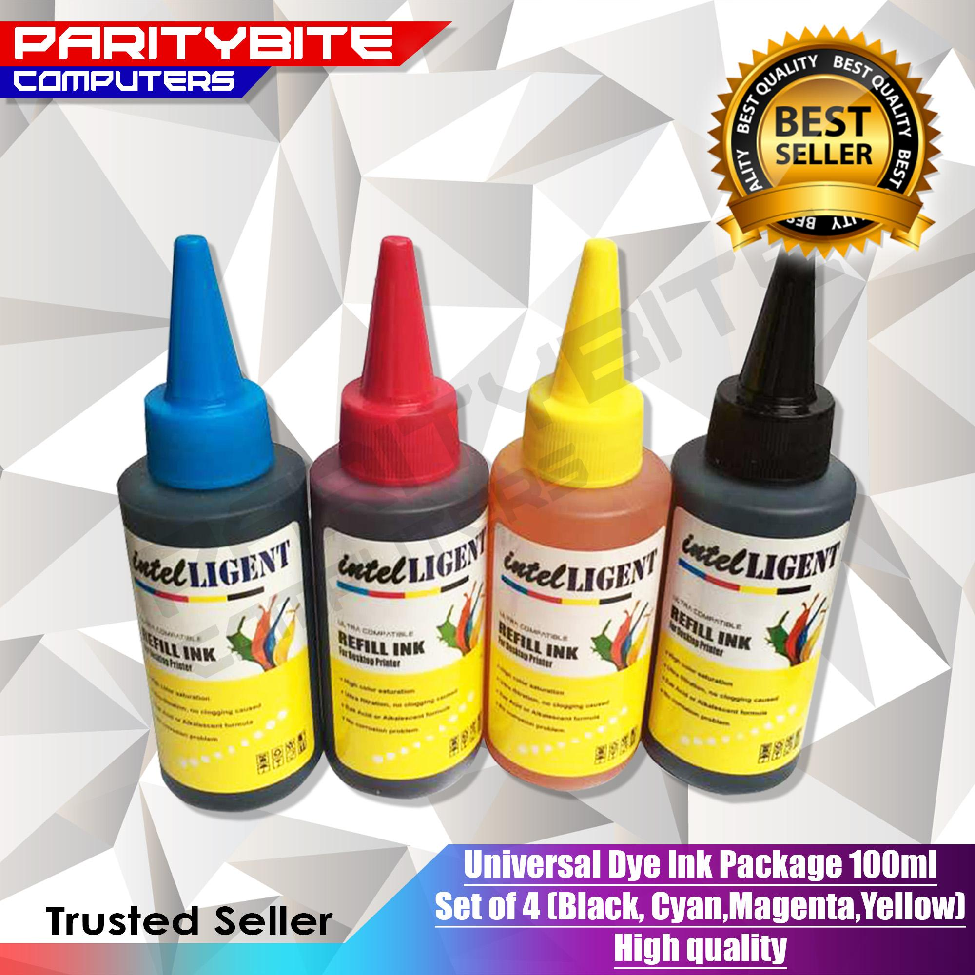 Universal Dye Ink Package 100ml Set Of 4 (black, Cyan,magenta,yellow) High Quality By Paritybite Computers.