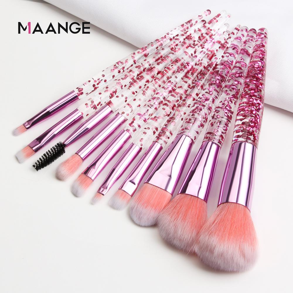 MAANGE 10 Bộ cọ MakeUp Set Bộ bàn chải kim cương Crystal Foundation Foundation Blush Brush Powder Blending Eyeshadow Make up Brush-Pink nhập khẩu