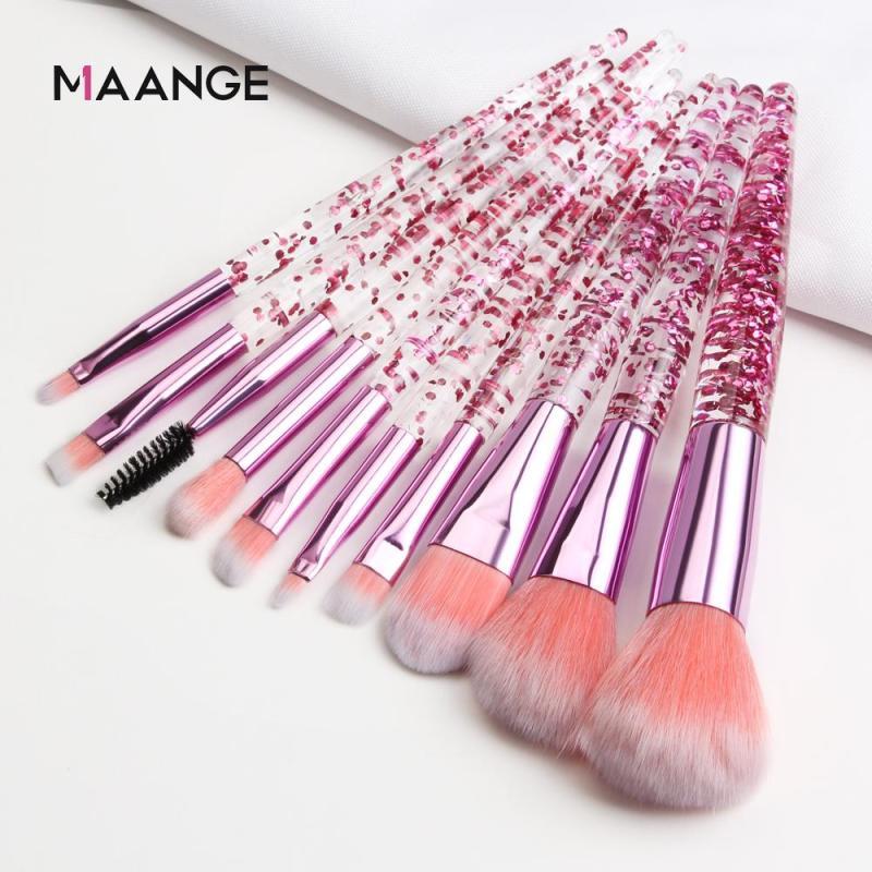 MAANGE 10 Bộ cọ MakeUp Set Bộ bàn chải kim cương Crystal Foundation Foundation Blush Brush Powder Blending Eyeshadow Make up Brush-Pink