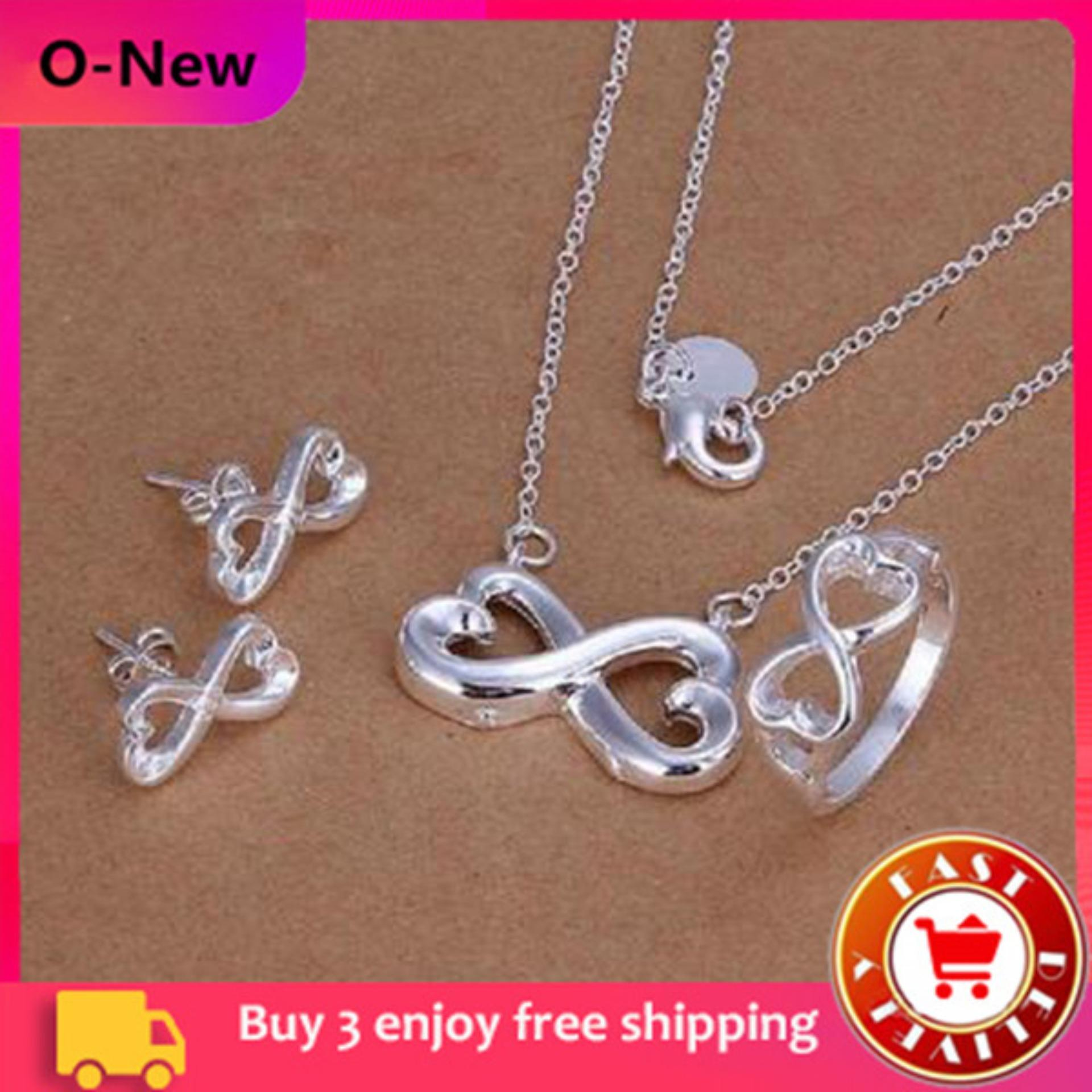 04edfe6f9de O-New 3 Pcs  Set Silver Plated Ring+Necklace+Earrings 8 Shape