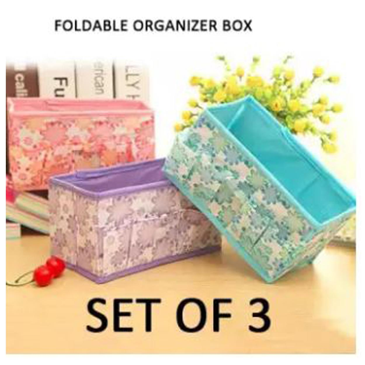 SET OF 3 .Multicolor Floral Printing Non-Woven Fabric Folding Case Storage Box Foldable Cosmetic Storage Box Makeup Organizer Desktop Jewelry Box (Multicolor) Philippines