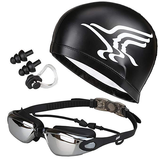 4in1 Swim Goggles Set with Swim Cap,Case,Nose Clip,Ear Plugs