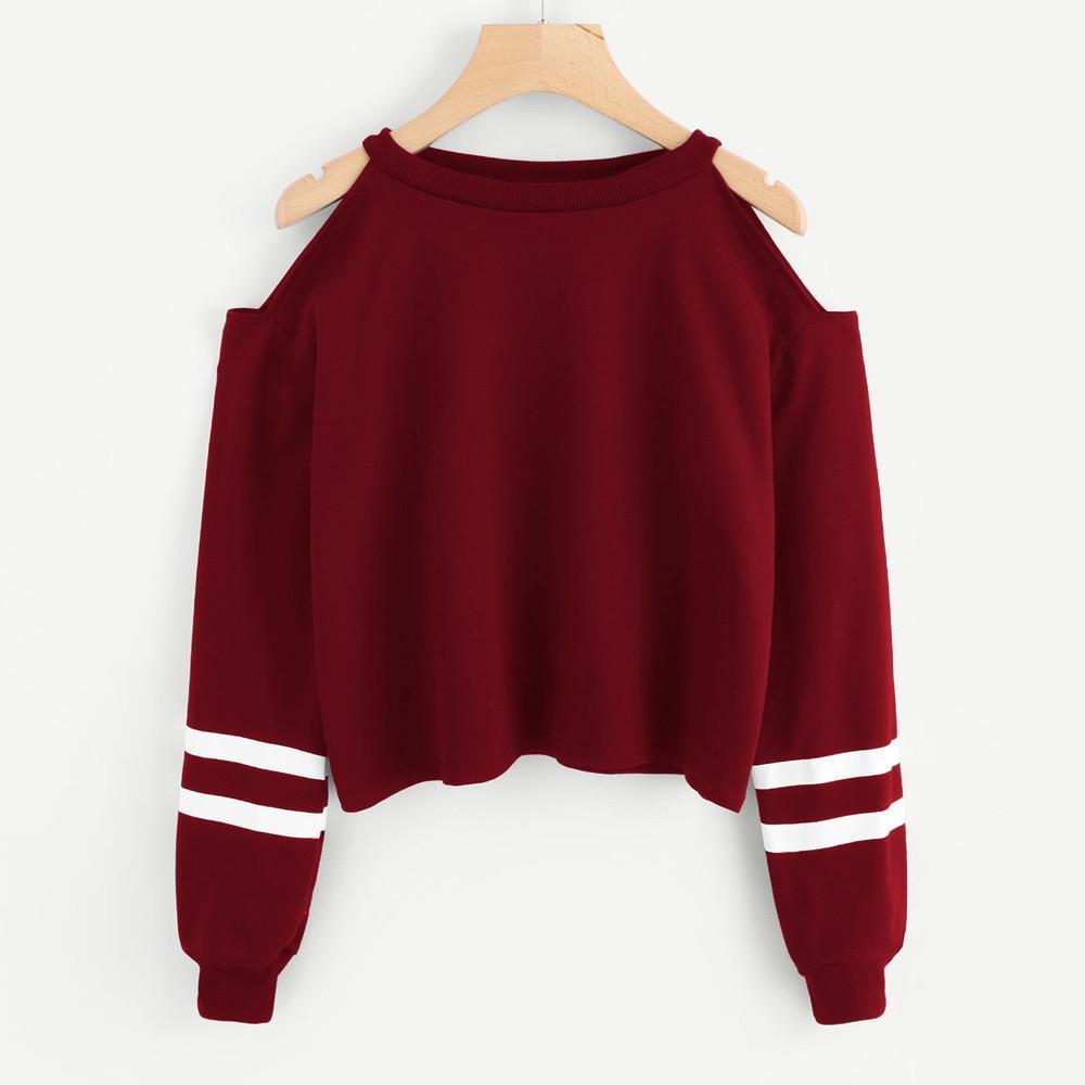 Rowellshop Women Off Shoulder Long Sleeve Blouse Sweatshirt Pullover Casual Tops Shirt By Rowellshop.