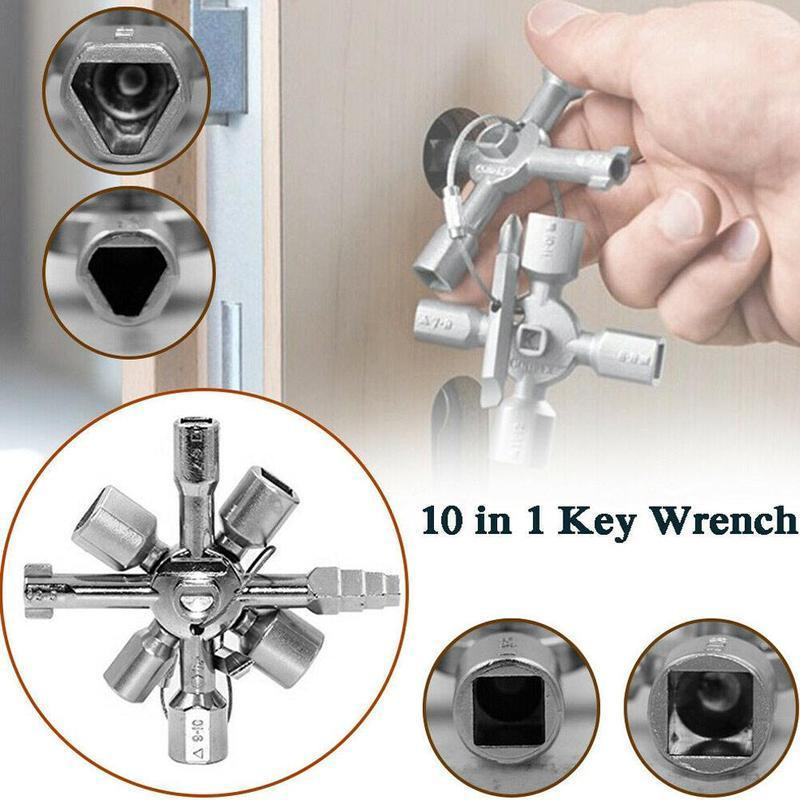 10-in-1 standard multi-function wrench tool Practical key water cross meter wrench Portable valve metal wrench key P6Y1
