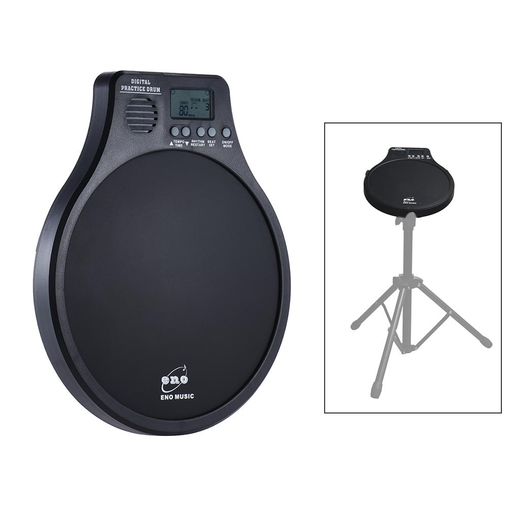 eno DEM-40 Multifunction 3 in 1 Portable Electric Digital Practice Drum Pad with Metronome / Counting / Speed Detection Mode Black