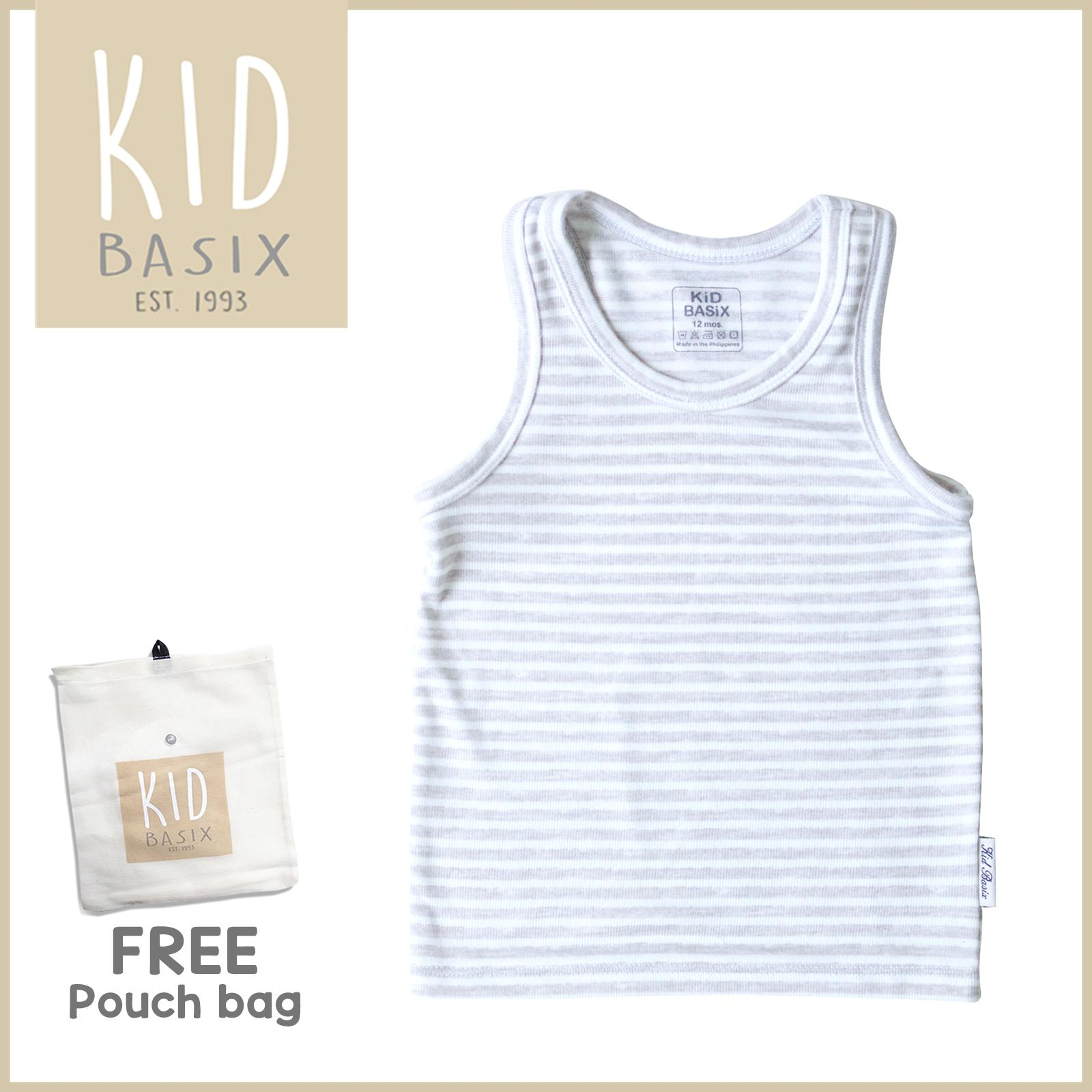 Kid Basix Kids Clothes for Boys Sando Grey Light Slate Stripes (Code -  KBE-05 )