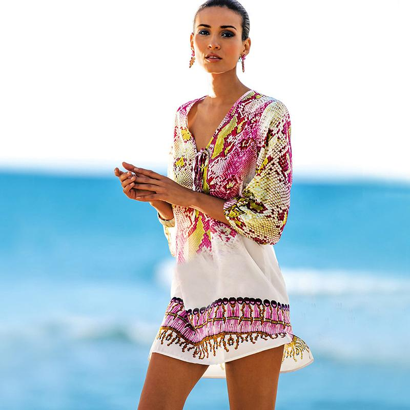 ab413b7d8d6e Bathing Suit Cover Ups Kaftan Beach Beach Tunic Beach Cover Up Print Snake Robe  De Plage