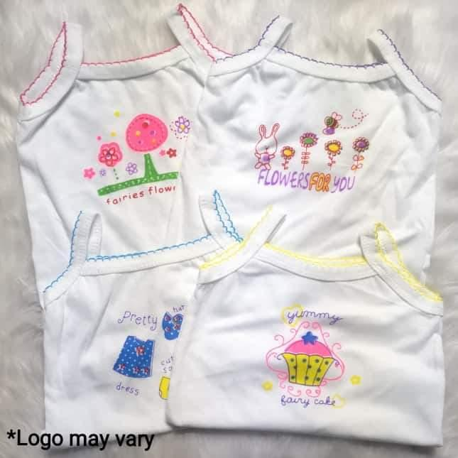 f2368201fdf22 TRENDSCENTRE KIDS 4 pieces Baby Girl Cute Character White Logo Sleeveless  Cotton Tank Top Cotton Girls