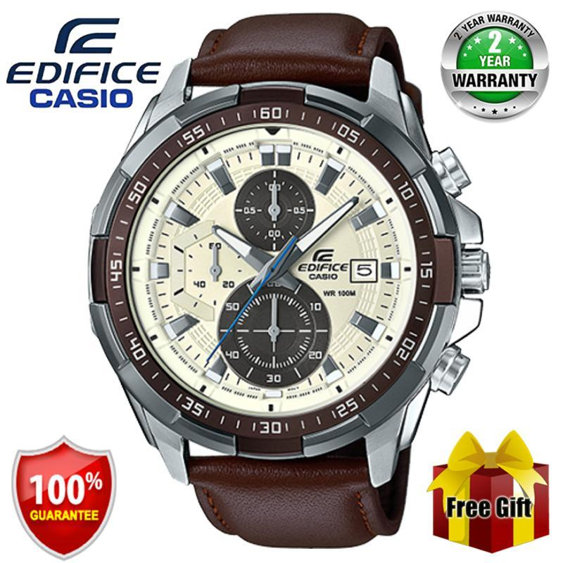 Original Edifice EFR539 Chronograph Men Business Fashion Watch Shockproof Waterproof Full Auto-Calendar Leather Stainless Steel Mens Quartz Wrist Watches EFR-539L-7BV Brown Silver Malaysia