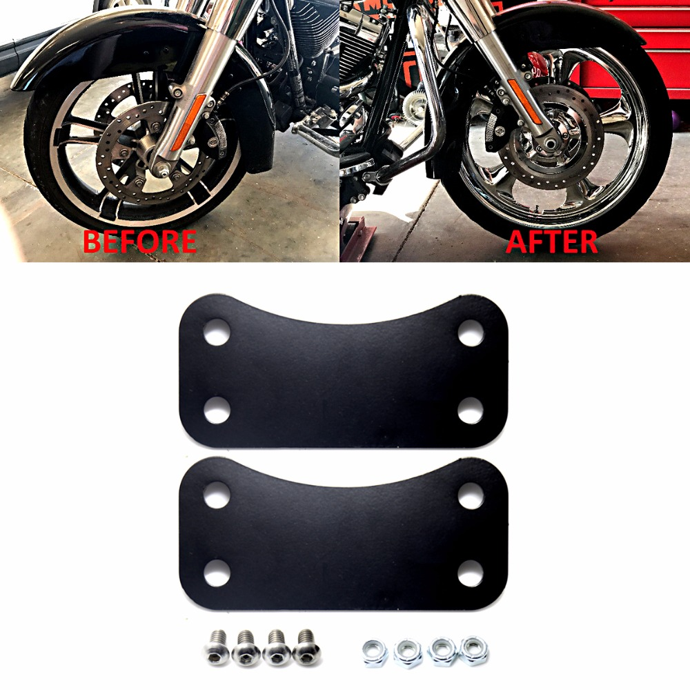 "Black Fender Riser Brackets for 23/"" Wheel on 2014 /& Newer Harley Touring models"