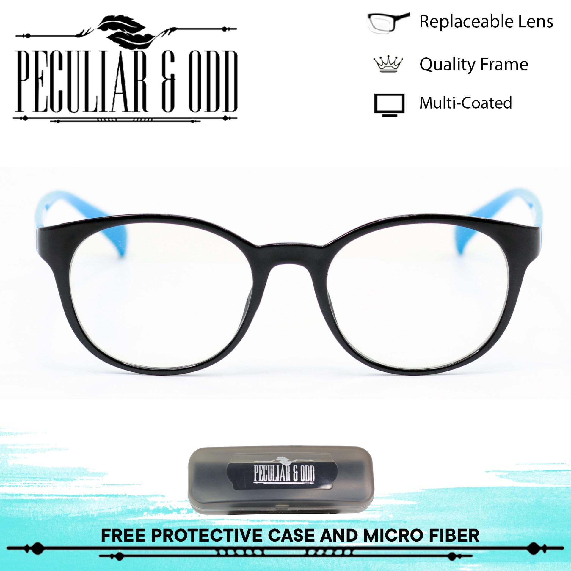 Peculiar Optical Round Lightweigth Spectacles S493 BlackBlue Multi-coated  Computer Replaceable Blue Lens Eyewear Unisex 667a46499226